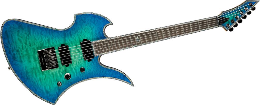 B.C. Rich Mockingbird Extreme Exotic Cyan Blue with EverTune