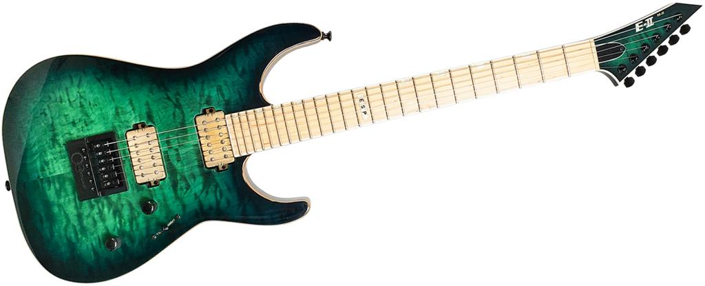 ESP E-II Made In Japan M-II NT • Black Turquoise Burst • EverTune AfterMarket Upgrade