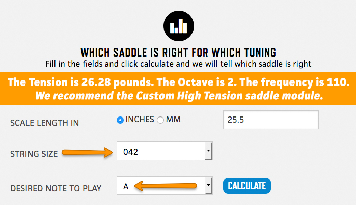 Sample calculation 5th string